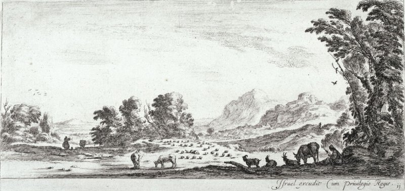 A Shepherdess Spinning, from the series Divers Paysages