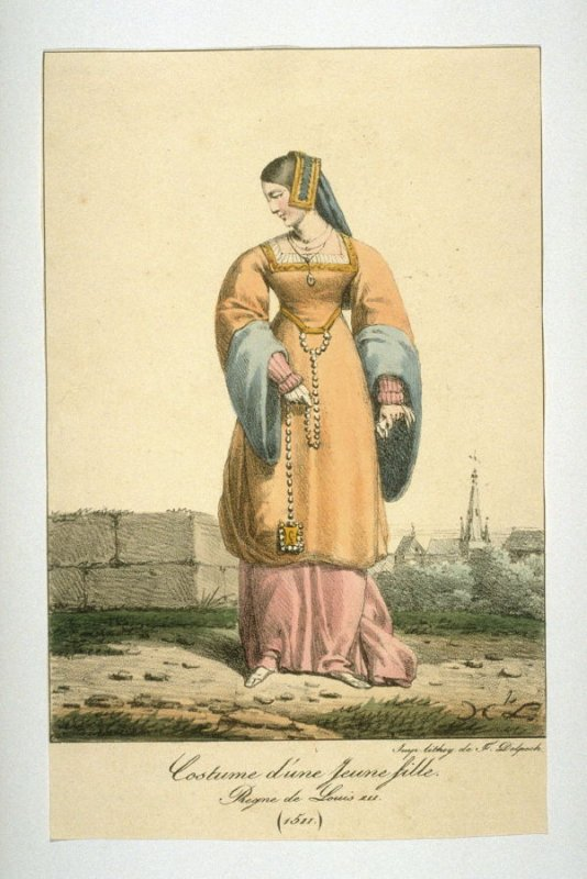 Costume of a young woman, reign of Louis XII