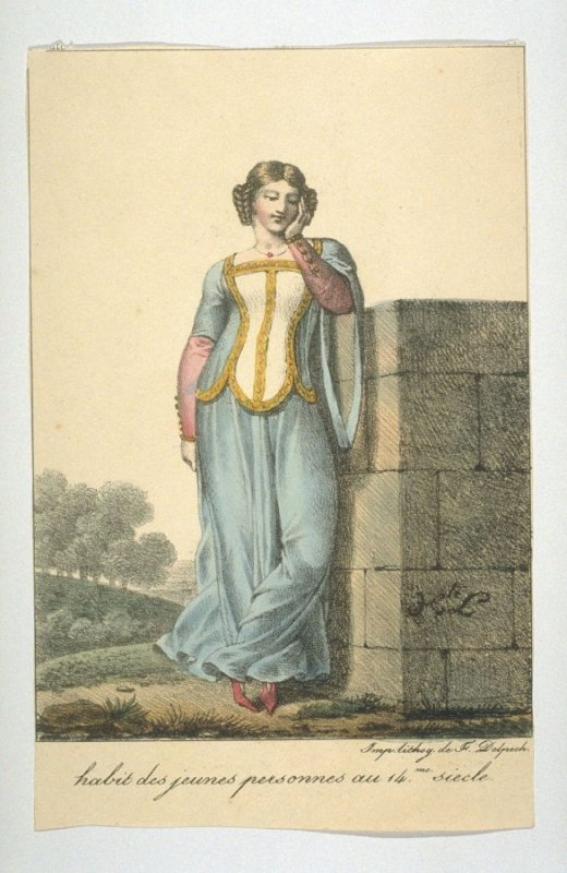 Costume of young women in 14th century France