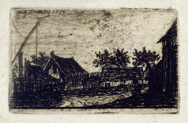 One from a Series of eight very small landscape etchings with a title: Eaux-Fortes par Auguste Delatre & Charle (sic) Meryon, Paris, 1856