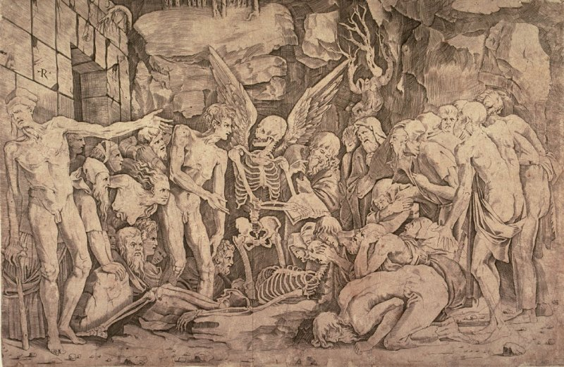 Allegory of Death and Fame, after Agostino Veneziano's engraving after Bandinelli