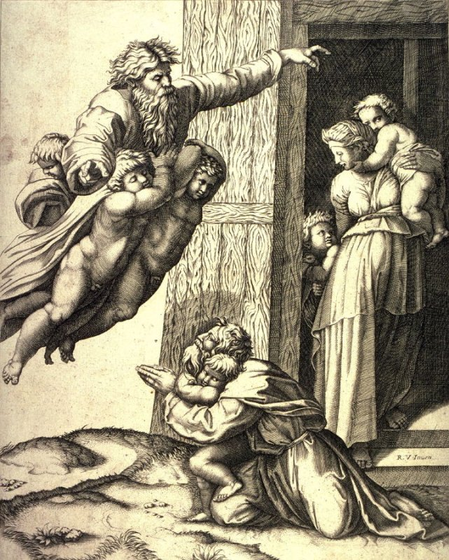 God Appearing to Noah after Raphael's ceiling for the Stanza d'Eliodoro, Vatican, Rome