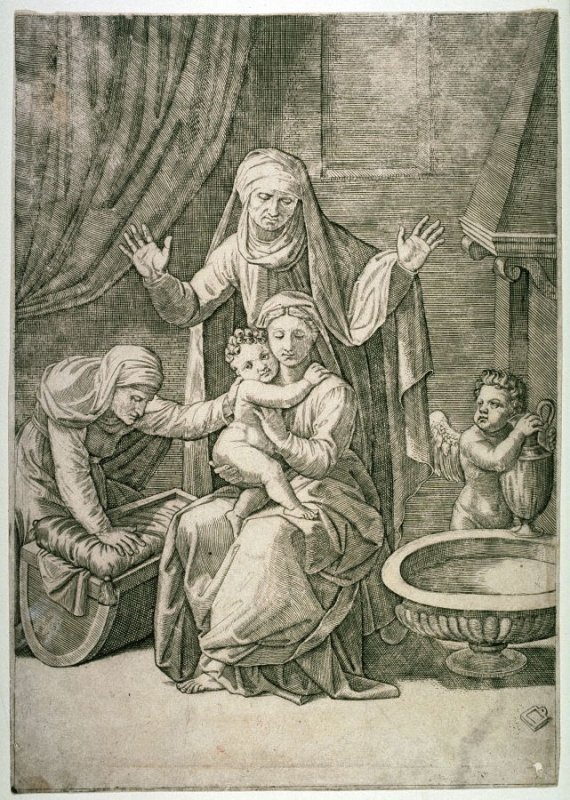 The Virgin and the Cradle, after Marcantonio Raimondi's engraving after Raphael's painting: La Madonna del Catino