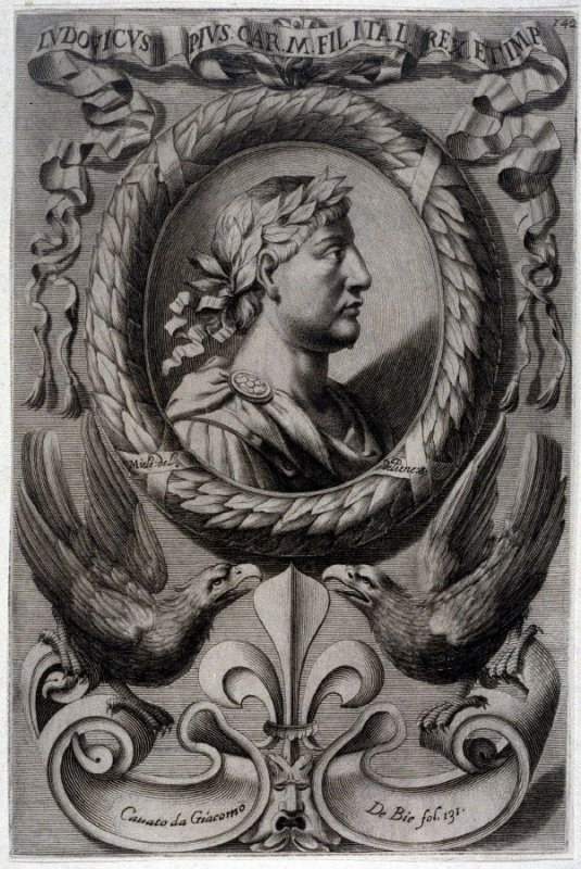 Ludovieus, pius Car. M. Italian King, from a series of Portraits of Rulers from the Museum of the Marchese Belisoni