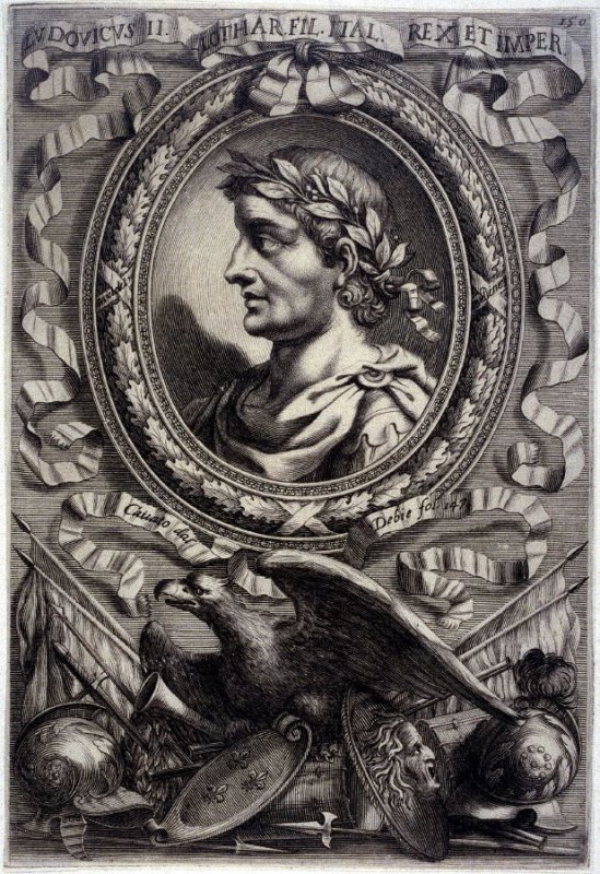 Ludovicus II, Lothar fil. King of Italy, from a series of Portraits of Rulers from the Museum of the Marchese Belisoni