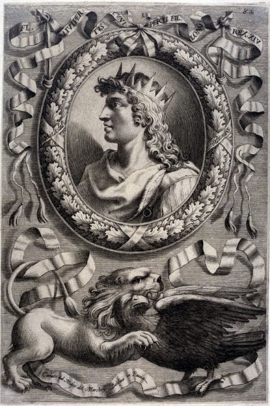 FL. Liutpertus, King of Lombardi, from a series of Portraits of Rulers from the Museum of the Marchese Belisoni