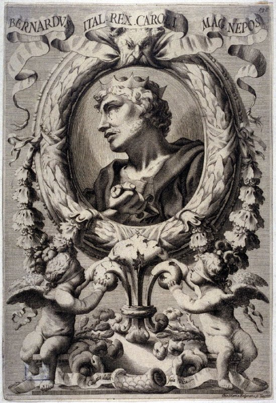 Bernardus, Italian King Caroli, from a series of Portraits of Rulers from the Museum of the Marchese Belisoni