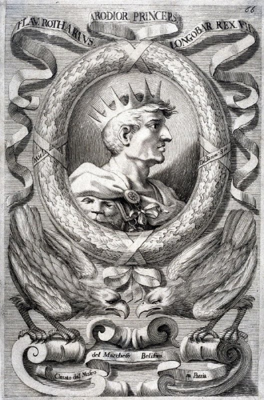 Flav. Rotharius Arodior of Lombardy, from a series of Portraits of Rulers from the Museum of the Marchese Belisoni