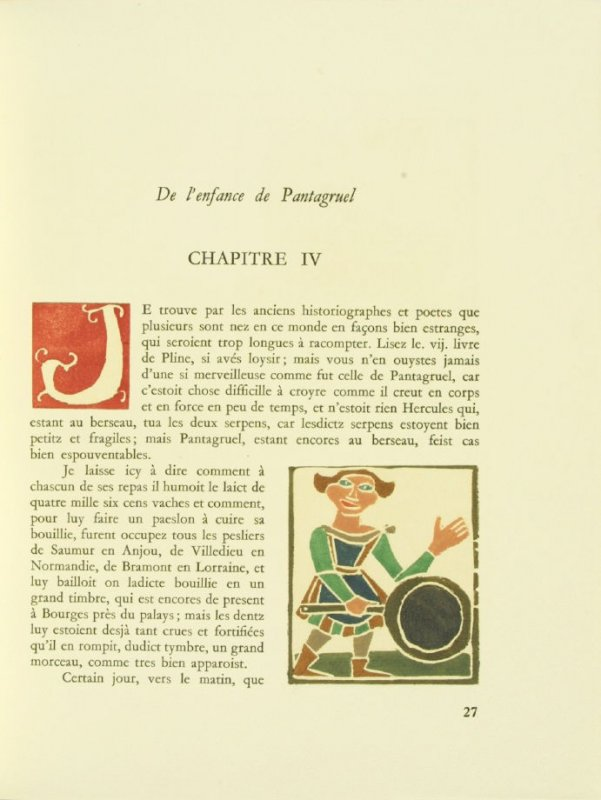 Untitled, Chapter IV, pg. 27, in the book Pantagruel by François Rabelais (Paris: Albert Skira, 1943).