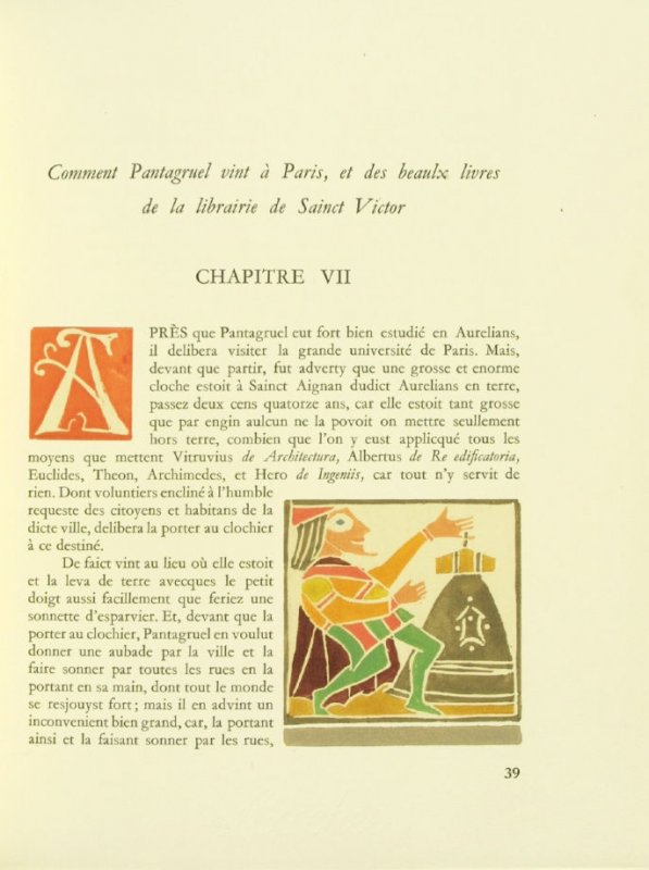 Untitled, Chapter VII, pg. 39, in the book Pantagruel by François Rabelais (Paris: Albert Skira, 1943).