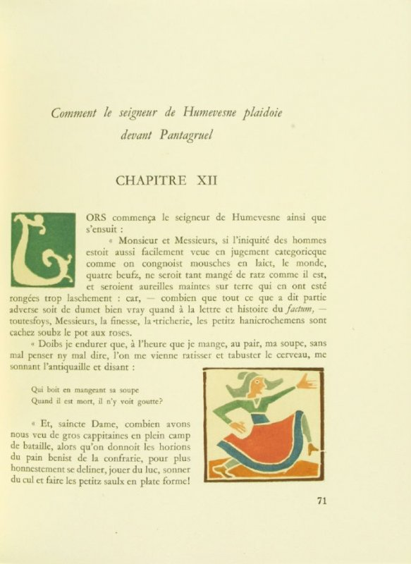 Untitled, Chapter XII, pg. 71, in the book Pantagruel by François Rabelais (Paris: Albert Skira, 1943).