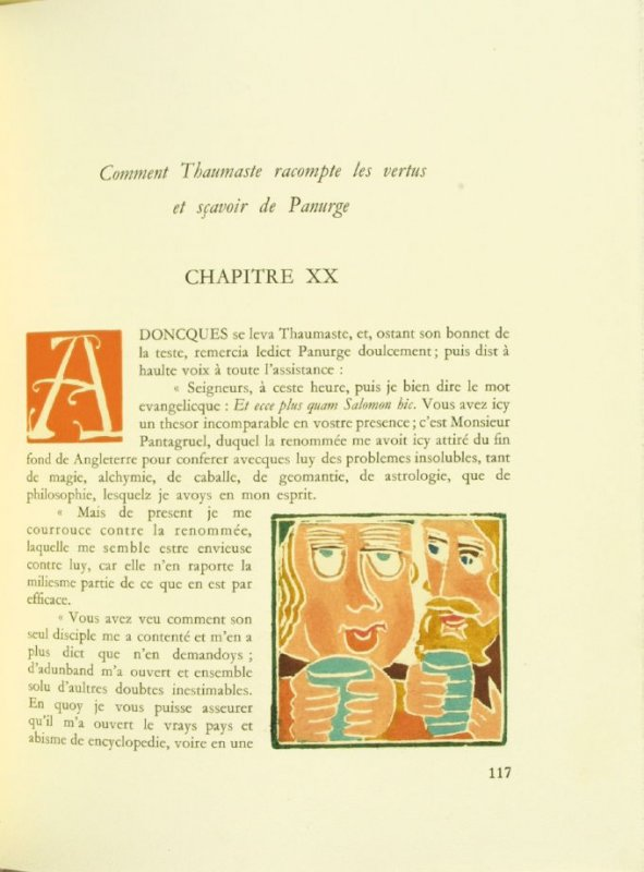 Untitled, Chapter XX, pg. 117, in the book Pantagruel by François Rabelais (Paris: Albert Skira, 1943).
