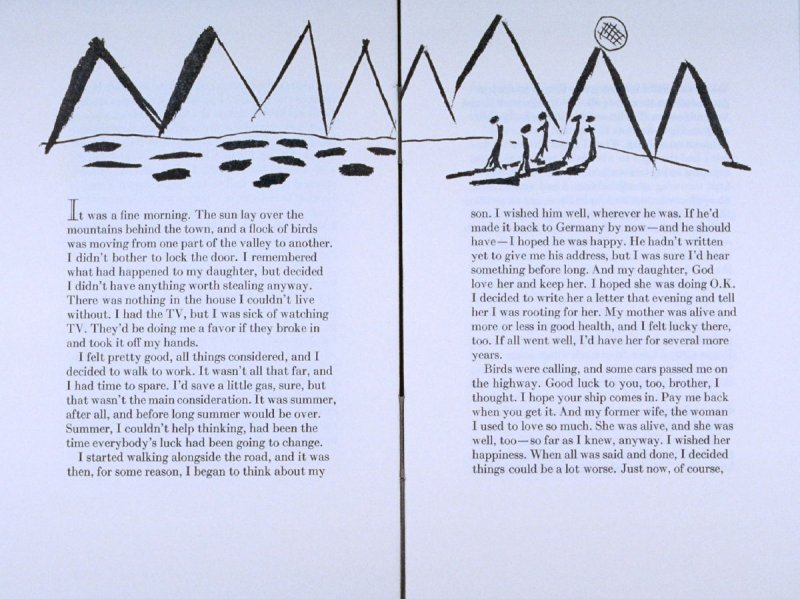 """"""" It was a fine morning. . .,"""" page in the book Elephant (Fairfax: Jungle Garden Press, 1988)"""