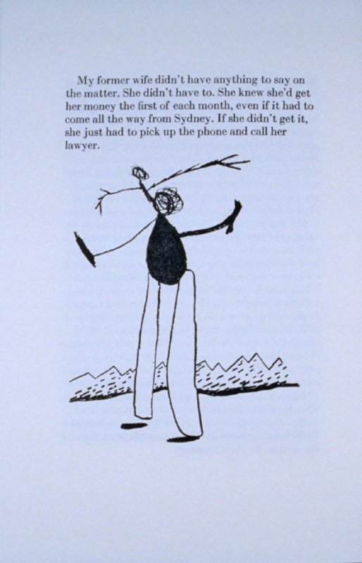"""""""My former wife didn't have anything to say. . .,""""page in the book Elephant (Fairfax: Jungle Garden Press, 1988)"""