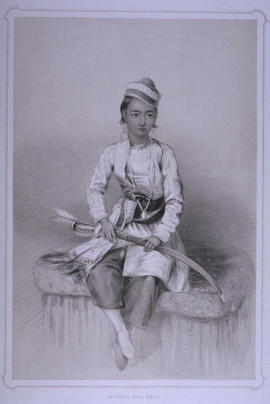 A Young Hill Raja atSimla, plate 10 from the book 'Portraits of the Princes & Peoples of India by the Honorable Miss Eden Drawn on the Stone by L. Dickinson' (London: J. Dickinson & Son, 1844)