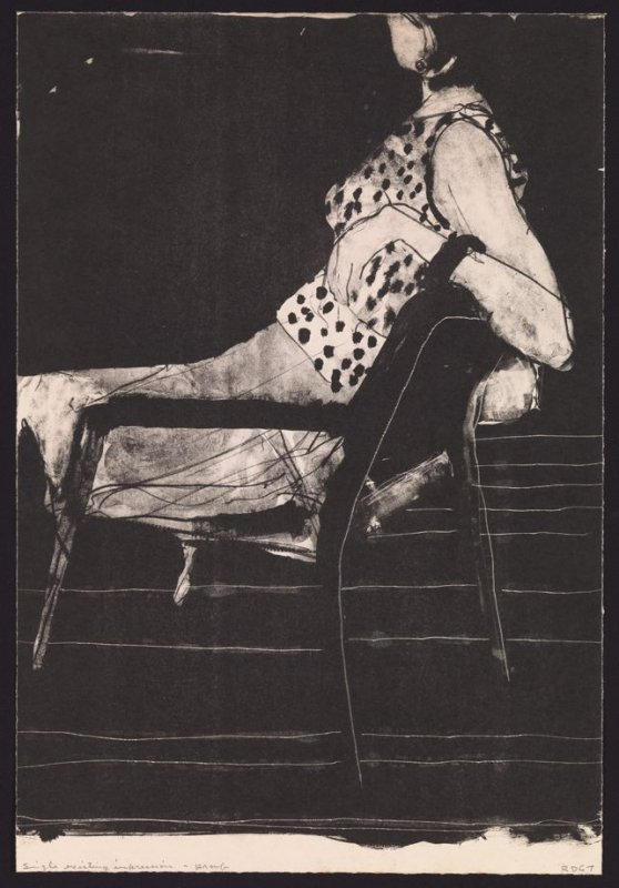 Untitled (Seated woman wearing polka-dot blouse)
