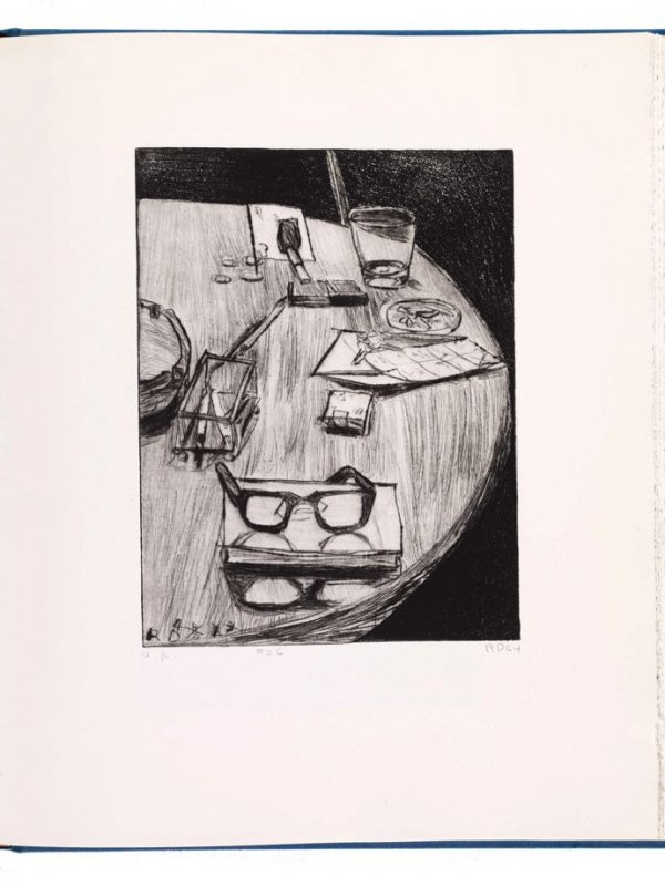 #26 (table still life with ash tray and numbers ) in the book, 41 Etchings Drypoints by Richard Diebenkorn ([Berkeley]: Crown Point Press, 1965)