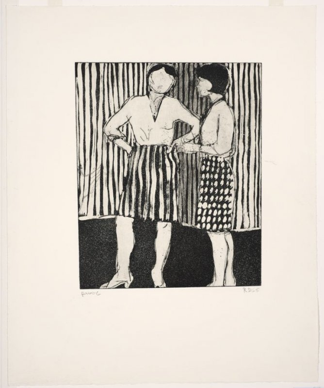 Untitled (Two women wearing patterned skirts standing against striped background)
