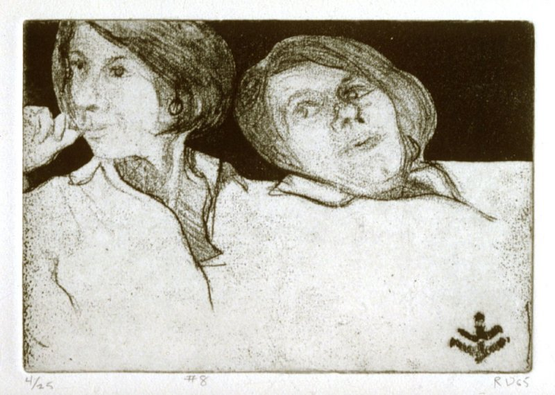 #8 (double portrait of Phyllis with motif), from the portfolio 41 Etchings Drypoints