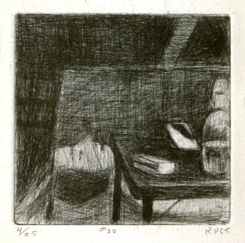 #20 (painting in artist's studio lying on its side behind a table), from the portfolio 41 Etchings Drypoints