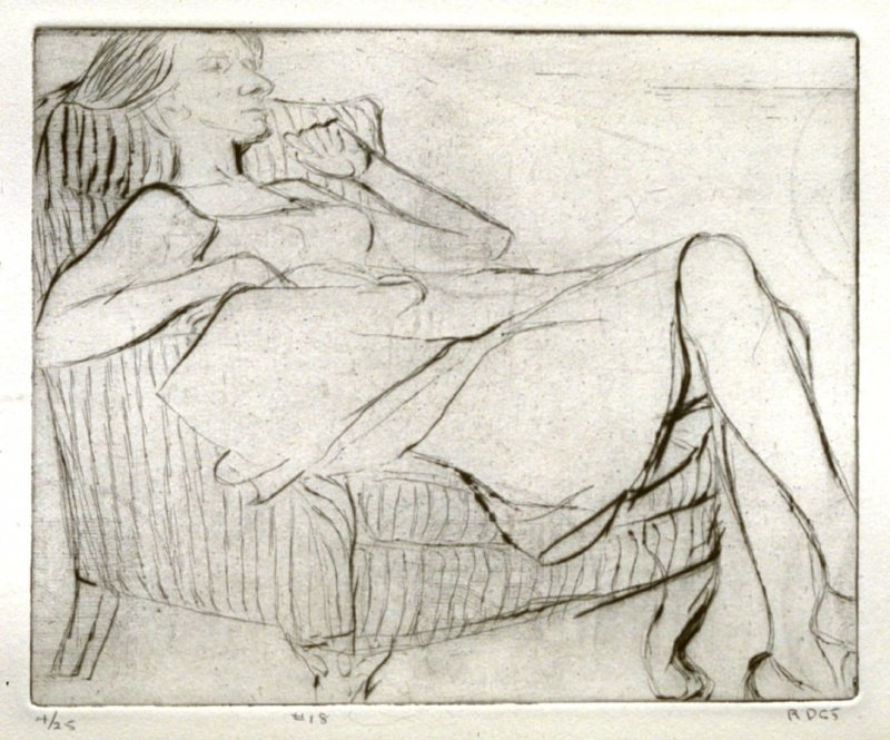 #18 (Phyllis in striped chair), from the portfolio 41 Etchings Drypoints