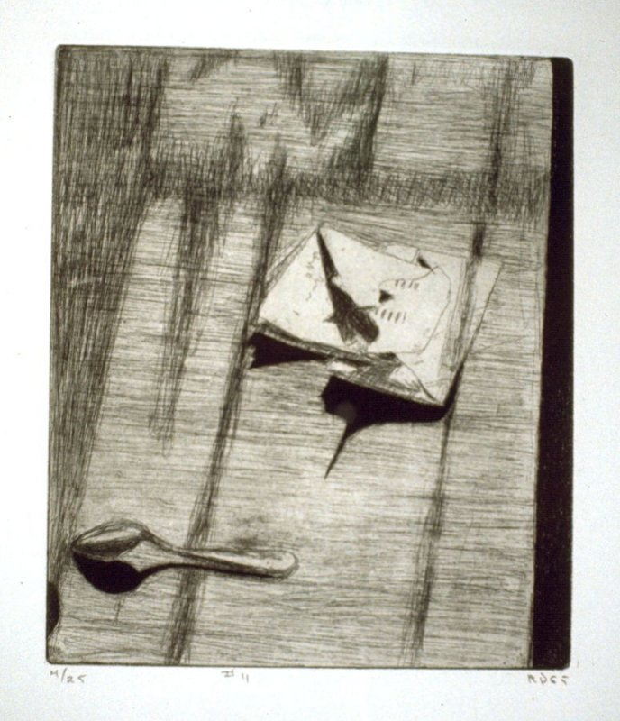 #11 (letter and spoon on a table), from the portfolio 41 Etchings Drypoints