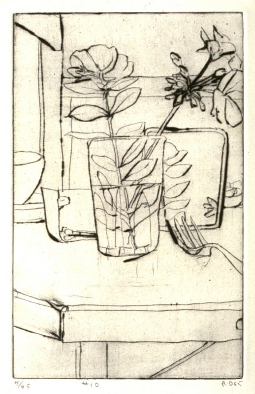 #10 (leafy plant in vase with fork and mirror on a table), from the portfolio 41 Etchings Drypoints