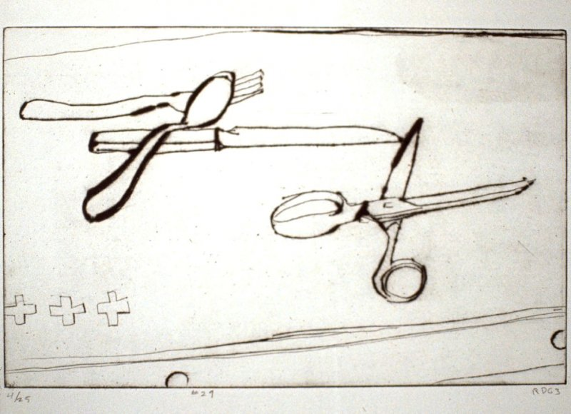 #27 (still life with silverware, scissors, and three crosses), from the portfolio 41 Etchings Drypoints