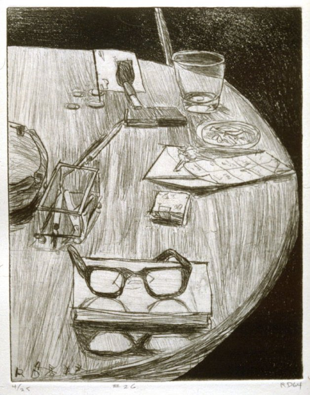 #26 (table still life with artist's glasses), from the portfolio 41 Etchings Drypoints