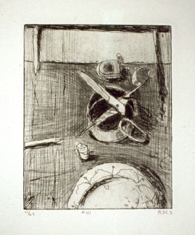 #41 (still life with plate and scissors), from the portfolio 41 Etchings Drypoints