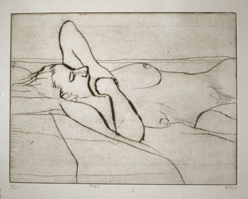 #35 (reclining female nude), from the portfolio 41 Etchings Drypoints
