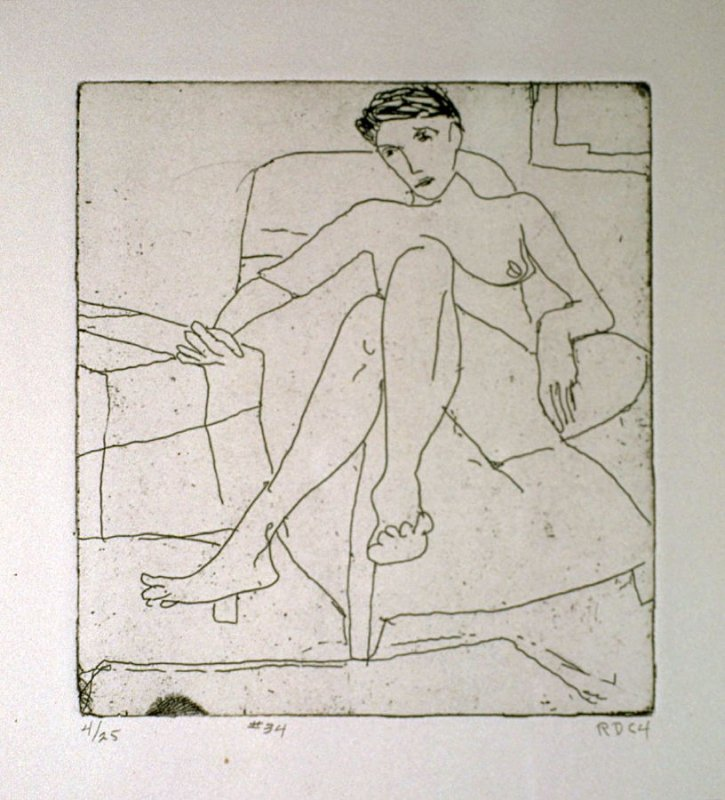 #34 (seated female nude), from the portfolio 41 Etchings Drypoints