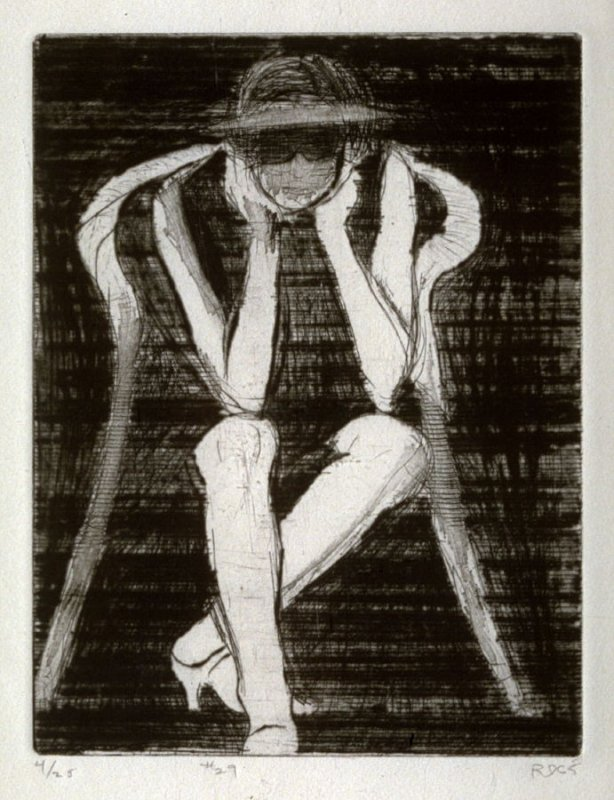 #29 (seated woman resting elbows on knees), from the portfolio 41 Etchings Drypoints