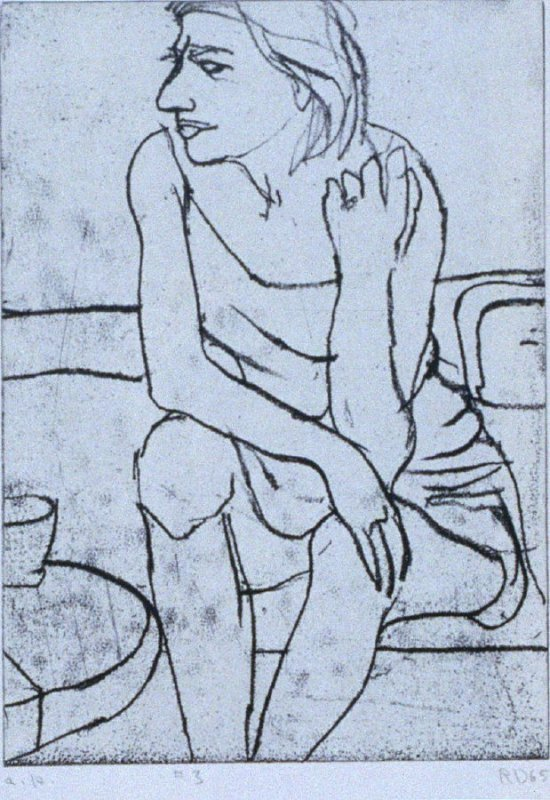 #3 (seated woman with part of a table near her right leg) in the book, 41 Etchings Drypoints by Richard Diebenkorn ([Berkeley]: Crown Point Press, 1965)