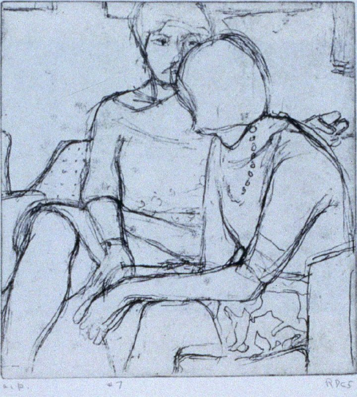#7 (Phyllis and her friend, Flora) in the book, 41 Etchings Drypoints by Richard Diebenkorn ([Berkeley]: Crown Point Press, 1965)