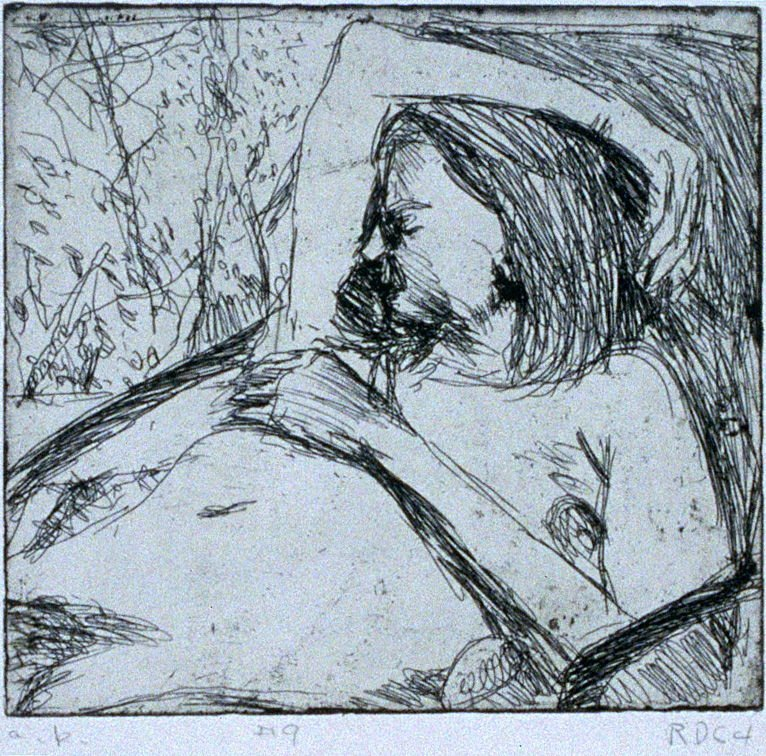 #9 (nude model in drawing session with artist and friends) in the book, 41 Etchings Drypoints by Richard Diebenkorn ([Berkeley]: Crown Point Press, 1965)