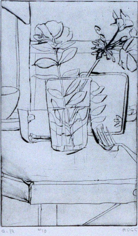 #10 (similar composition to Composition with Leafy Plant in Vase with Fork) in the book, 41 Etchings Drypoints by Richard Diebenkorn ([Berkeley]: Crown Point Press, 1965)