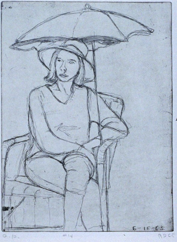 #14 (Phyllis on the patio) in the book, 41 Etchings Drypoints by Richard Diebenkorn ([Berkeley]: Crown Point Press, 1965)