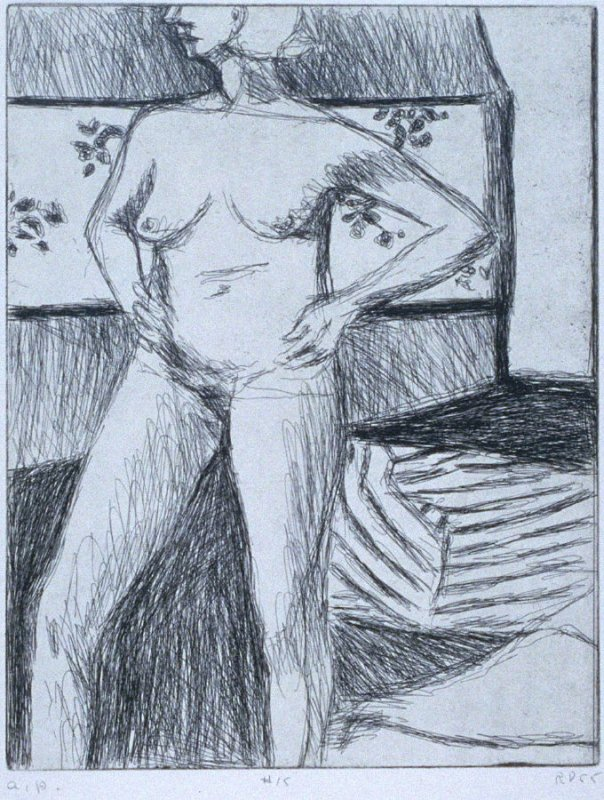 #15 (standing nude with arms on hips) in the book, 41 Etchings Drypoints by Richard Diebenkorn ([Berkeley]: Crown Point Press, 1965)