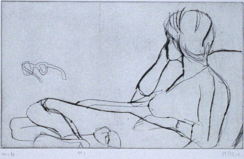 #1 (artist's wife, Phyllis) in the book, 41 Etchings Drypoints by Richard Diebenkorn ([Berkeley]: Crown Point Press, 1965)