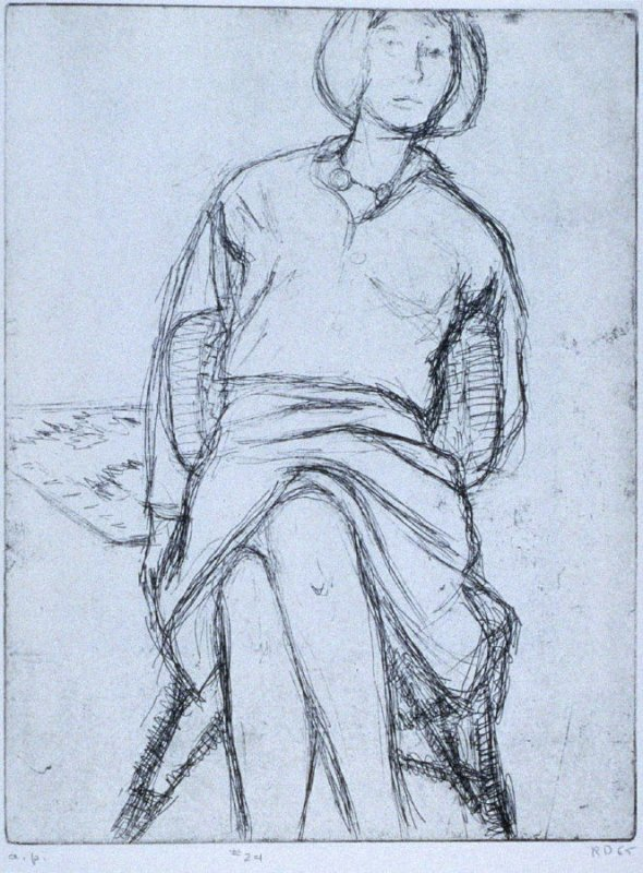 #24 ( Phyllis seated in rattan chair) in the book, 41 Etchings Drypoints by Richard Diebenkorn ([Berkeley]: Crown Point Press, 1965)