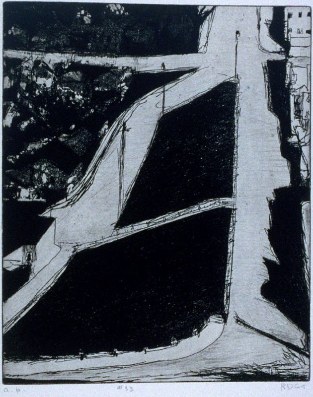 #33 (hillside streets) in the book, 41 Etchings Drypoints by Richard Diebenkorn ([Berkeley]: Crown Point Press, 1965)