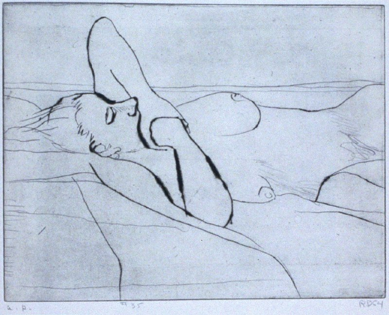 #35 (reclining nude woman with arm over her head) in the book, 41 Etchings Drypoints by Richard Diebenkorn ([Berkeley]: Crown Point Press, 1965)