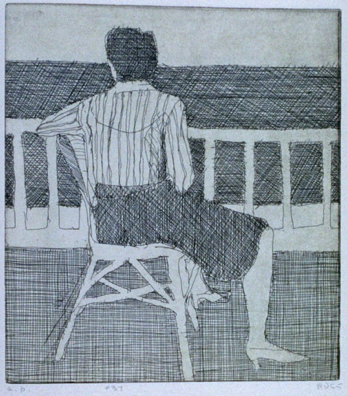 #37 (crosshatched drawing of woman in chair, turning her back) in the book, 41 Etchings Drypoints by Richard Diebenkorn ([Berkeley]: Crown Point Press, 1965)