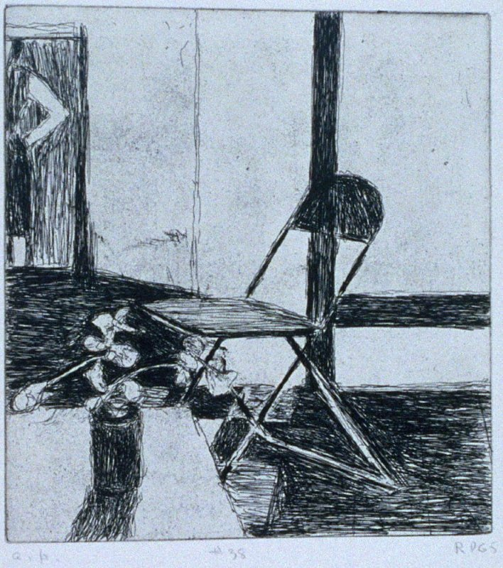 #38 (chair, potted plant, woman standing) in the book, 41 Etchings Drypoints by Richard Diebenkorn ([Berkeley]: Crown Point Press, 1965)