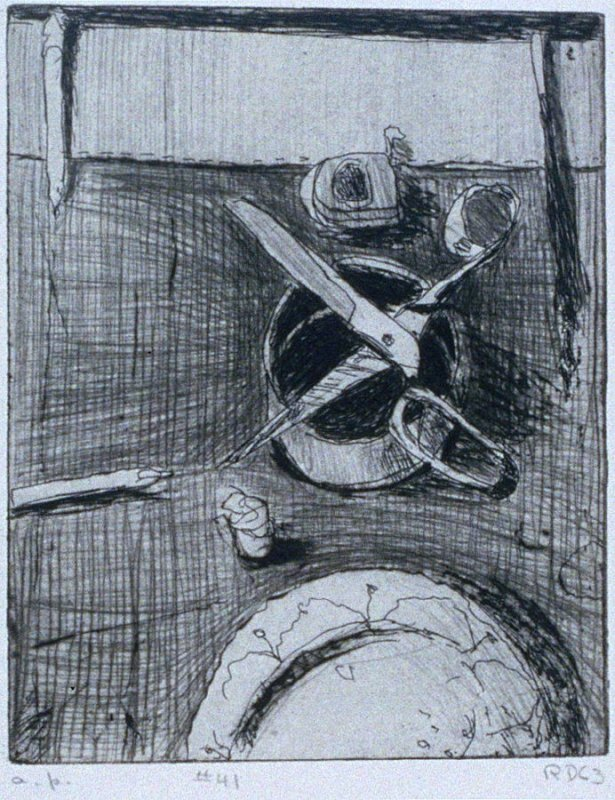 #41 (still life with plate and open scissors) in the book, 41 Etchings Drypoints by Richard Diebenkorn ([Berkeley]: Crown Point Press, 1965)
