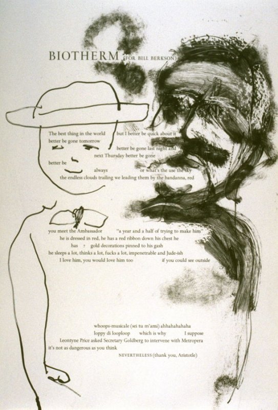 Third plate in the portfolio Biotherm (for Bill Berkson) by Frank O'Hara (San Francisco: Arion Press, 1990)