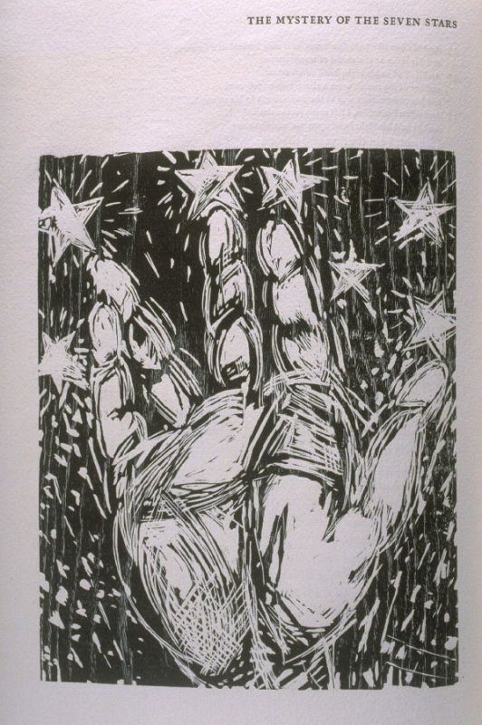"""""""Mystery of the Seven Stars,"""" illustration in the book The Apocalypse/The Revelation of Saint John The Divine/The Last Book of the New Testament from the King James Version of the Bible, 1611, with Twenty-nine Prints from Woodblocks Cut by Jim Dine. (San"""