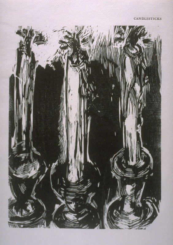 """""""Candlesticks,"""" illustration in the book The Apocalypse/The Revelation of Saint John The Divine/The Last Book of the New Testament from the King James Version of the Bible, 1611, with Twenty-nine Prints from Woodblocks Cut by Jim Dine. (San Francisco: The"""