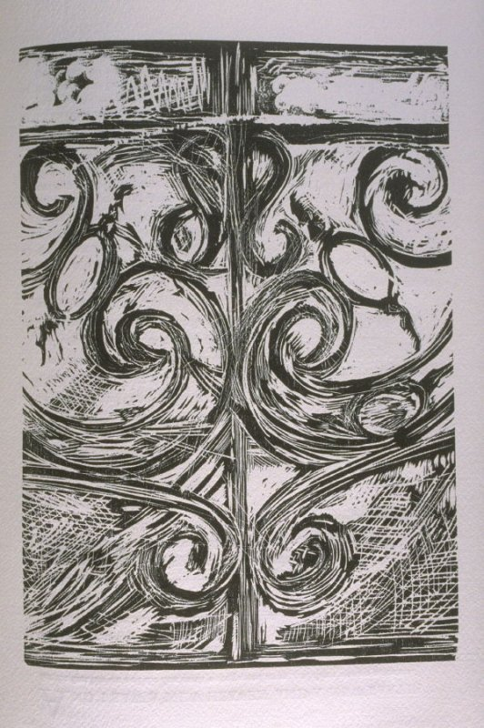 """""""Every Several Gate Was of One Pearl,"""" illustration in the book The Apocalypse/The Revelation of Saint John The Divine/The Last Book of the New Testament from the King James Version of the Bible, 1611, with Twenty-nine Prints from Woodblocks Cut by Jim Di"""